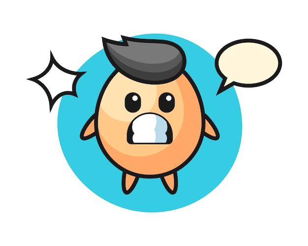 Eiercharakter-karikatur mit schockierter geste, niedlicher stil für t-shirt, aufkleber, logoelement