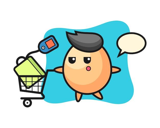 Eierillustrationskarikatur mit einem einkaufswagen, niedlicher stil für t-shirt, aufkleber, logoelement