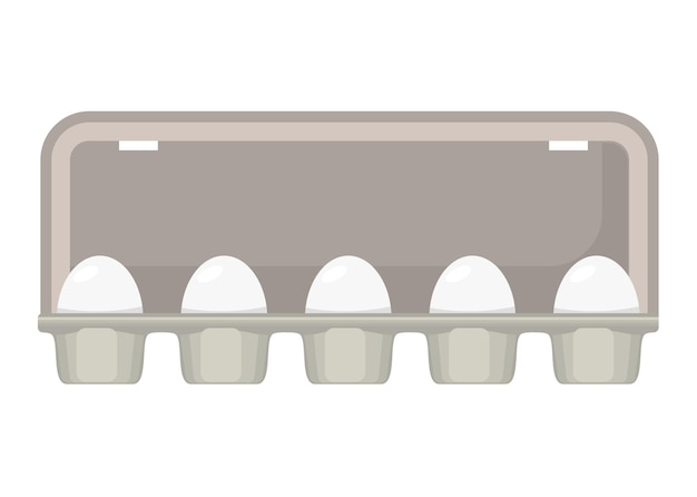 Eierkarton mit weißen frischen hühnereiern.