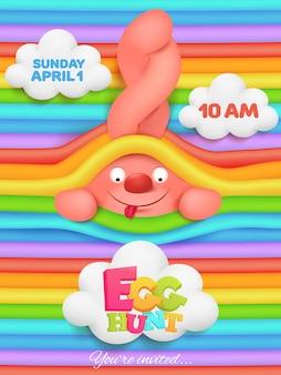Eiersuchgrußkarte mit rosa häschenzeichentrickfilm-figur auf regenbogen