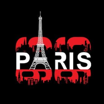 Eifel turm typografie t-shirt