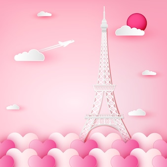 Eiffelturm, frankreich, paris und wolke auf herz.