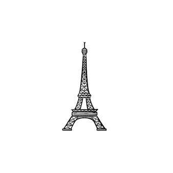 Eiffelturm handgezeichnete umriss-doodle-symbol. frankreich und wahrzeichen, tourismus und architektur, berühmtes konzept