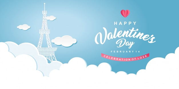 Eiffelturm illustration happy valentines day