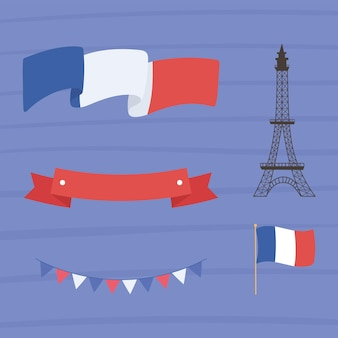 Eiffelturm mit französischer flagge