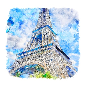 Eiffelturm paris frankreich aquarell skizze hand gezeichnet