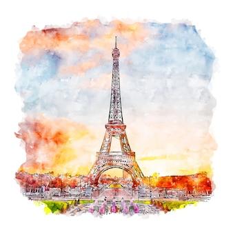 Eiffelturm paris frankreich aquarell skizze hand gezeichnete illustration