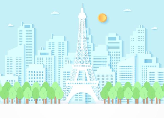 Eiffelturm, umgeben von bäumen und gebäudehintergrund, blauer himmel und sonne, papierkunststil