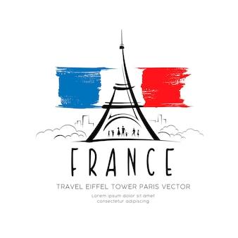 Eiffelturmflagge von frankreich, die vektordesignhintergrundillustration skizziert