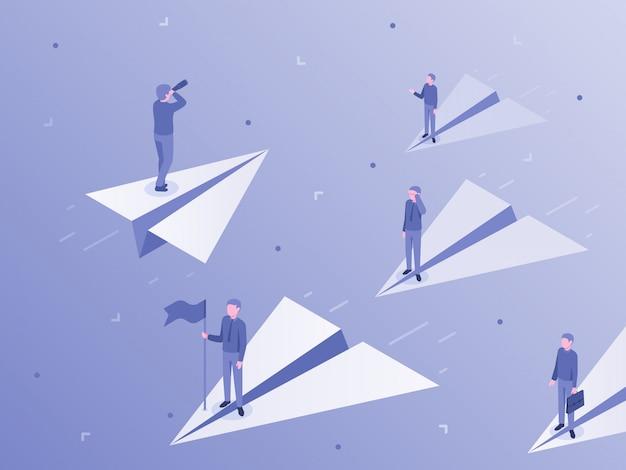 Eigener geschäftsweg. geschäftsmann auf papierflugzeug heben sich von masse, individualität und einzigartiger illustration ab