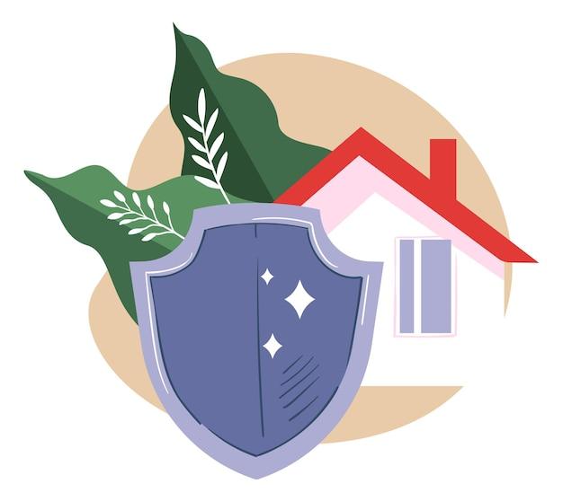 Eigentums- und immobilienversicherung, isoliertes symbol des hauses, das durch einen großen schild geschützt ist. laub und verteidigung von kapital und heimat. kauf von gebäuden und wohnungen, wohnungsvektor in flacher illustration
