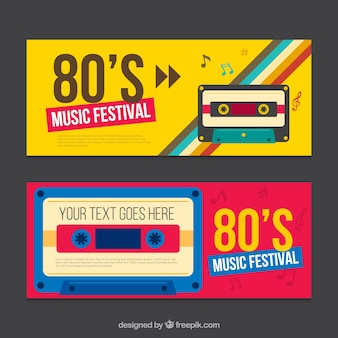 Eighties banner mit kassette