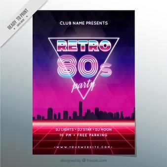 Eighties broschüre im modernen stil mit stadtsilhouette
