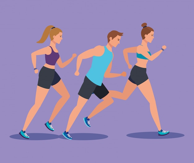 Eignungsfrauen und -mann, die laufen, um sport zu betreiben
