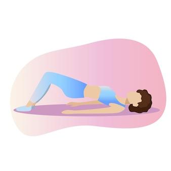 Eignungskonzeptillustration der frau. fitness- und yoga-mädchen-symbole auf weißem hintergrund. flaches design. minimales design. dehnung der frau