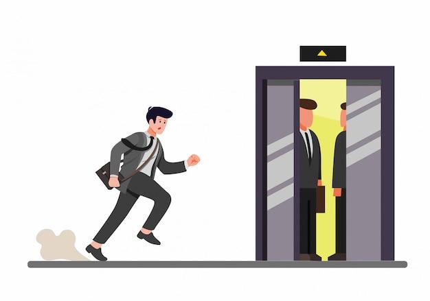 Eiliger geschäftsmann, der zum inneren aufzug läuft, büroangestellter spät für arbeit in der karikaturflachillustration