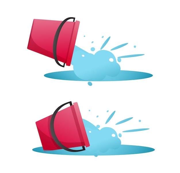 Eimer mit wasserablass und verschüttetem durchfluss eingestellt