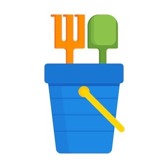 Eimer und spaten mit flacher ikone der sandvektorillustration lokalisiert, kinderspielzeugwerkzeugsymbol, eimerschaufelaufkleber, sandkastendesignkonzept.