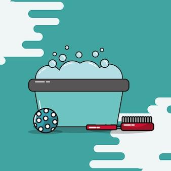 Eimer waschen schaumbad ball und pinsel
