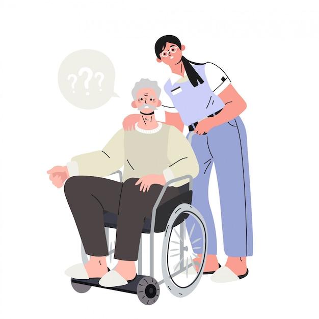 Ein älterer mann mit alzheimer-krankheit auf einem ungültigen stuhl.