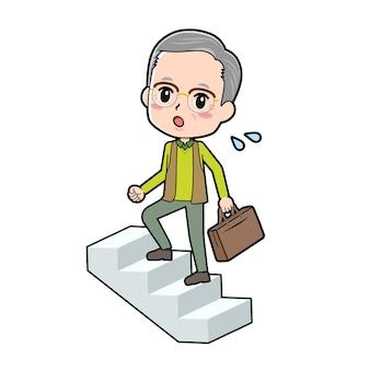 Ein älterer mann mit der geste, die treppe hinaufzusteigen.