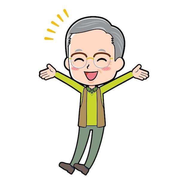 Ein älterer mann mit einer geste des glücks. zeichentrickfigur.