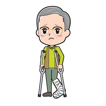 Ein älterer mann mit einer geste von gebrochenem bein. zeichentrickfigur.