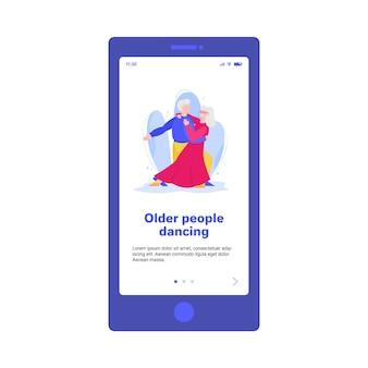 Ein älterer mann und eine ältere frau, die zusammen flache illustration für web tanzen