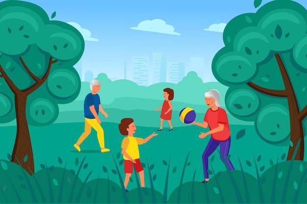 Ein älterer mann und eine ältere frau spielen mit kindern im park Premium Vektoren