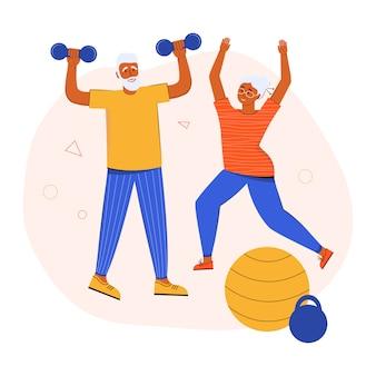 Ein aktives älteres ehepaar, das zu hause zusammen sport treibt. großeltern führen einen gesunden lebensstil. aktives seniorentraining im fitnessstudio. senioren trainieren mit hanteln und machen gymnastik, dehnen