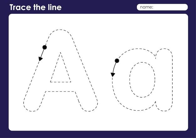 Ein alphabetbuchstabe auf zeichenlinien vorschularbeitsblatt