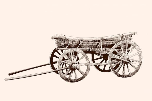 Ein alter hölzerner wagen auf vier rädern für ein pferdegeschirr. bleistiftzeichnung von hand.