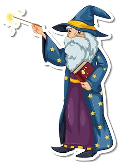 Ein alter zauberer-cartoon-charakter-aufkleber