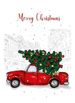 Ein altes taxi mit einem weihnachtsbaum auf dem dach.