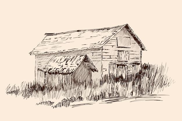 Ein altes verlassenes dorfhaus mit einer kleinen scheune, die mit gras bewachsen ist. handskizze auf beigem hintergrund.