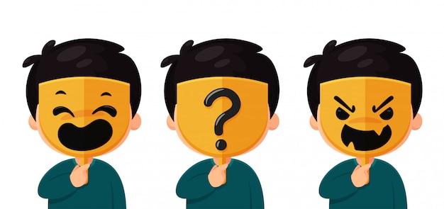 Ein anonymer mann, der eine maske mit einem echten gesichtsmasken-fragezeichen trägt. die idee eines fremden in den sozialen medien