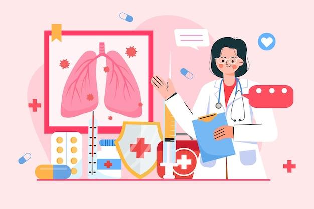 Ein arzt, der eine lungenentzündung erklärt