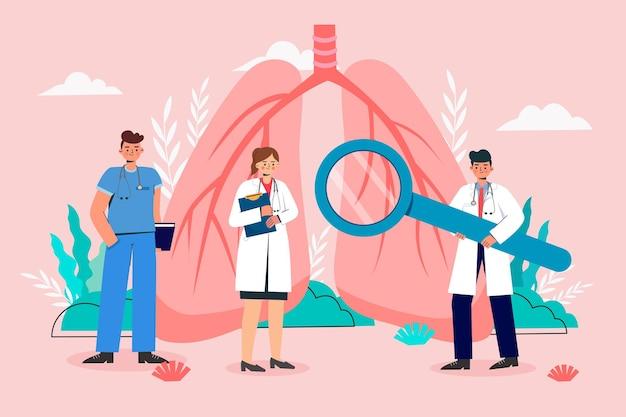 Ein arzt, der eine lungenuntersuchung durchführt