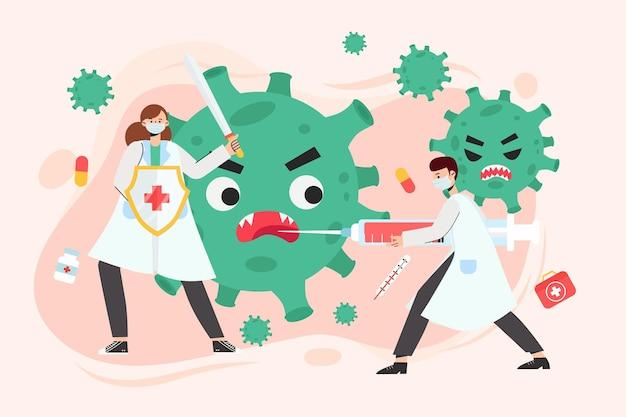 Ein arzt, der mit impfstoff gegen covid-19 kämpft
