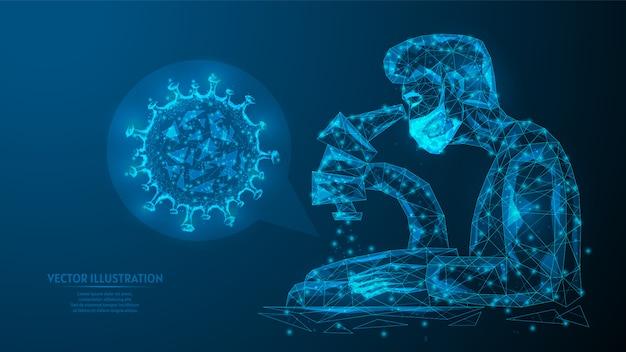 Ein arzt oder eine ärztin in einer medizinischen maske analysiert einen coronavirus-injektionstest des covid-19-virus unter einem mikroskop. laborstudie zur herstellung eines impfstoffs oder einer medizin. innovative medizin.