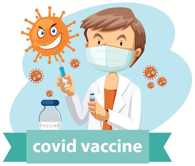 Ein arzt trägt eine maske und hält eine medizinische spritze mit einer nadel für das covid-19- oder coronavirus-logo oder -banner