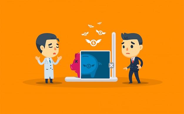 Ein arzt überprüft die ersparnisse eines unternehmers. vektor-illustration
