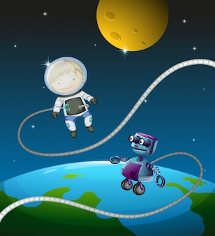 Ein astronaut und ein roboter