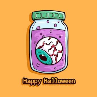 Ein auge im glas mit glücklichem halloween-text