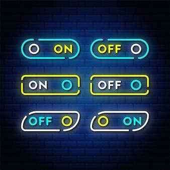 Ein-aus-schalter neon-taste set stil textsammlung.