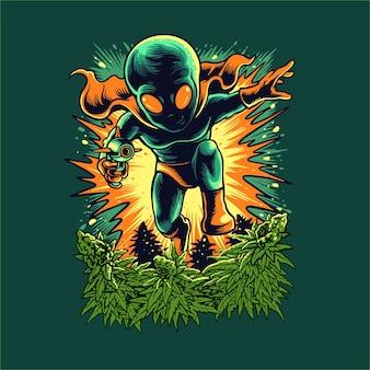 Ein außerirdischer dringt in einen cannabisgarten ein