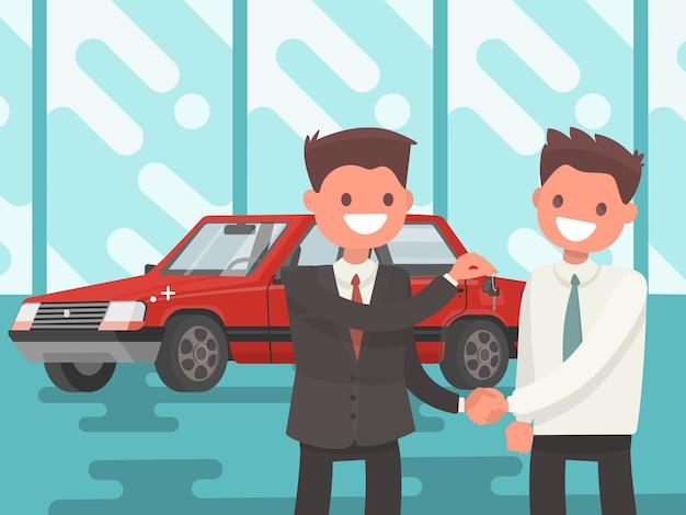 Ein auto kaufen. übergabe der autoschlüssel.