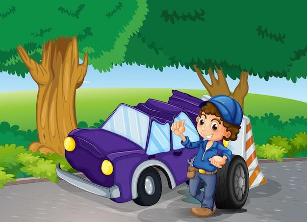 Ein auto stürzte in der nähe der großen bäume