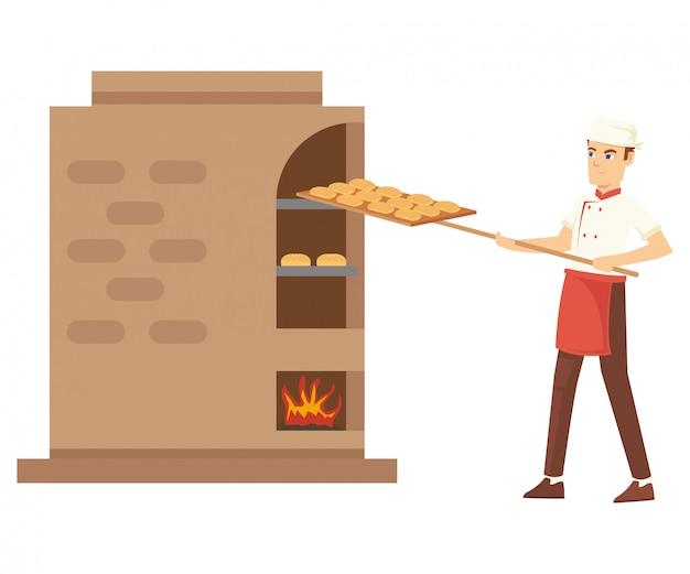 Ein bäcker setzte das brot am holzgrill ein