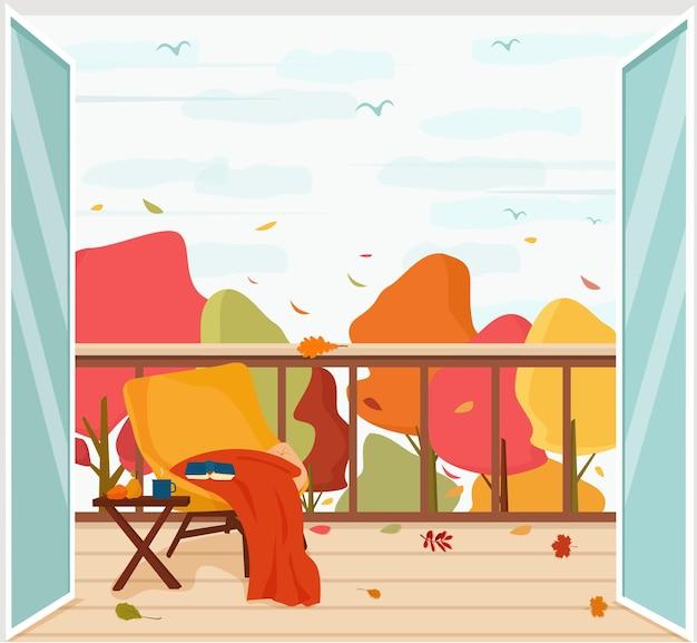 Ein balkon mit blick auf die herbstlandschaft und den laubfall. wohnkomfort im herbst. vektor